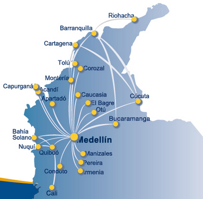 Aerolinea de Antioquia route map