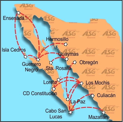 Aereo Servicio Guerrero route map