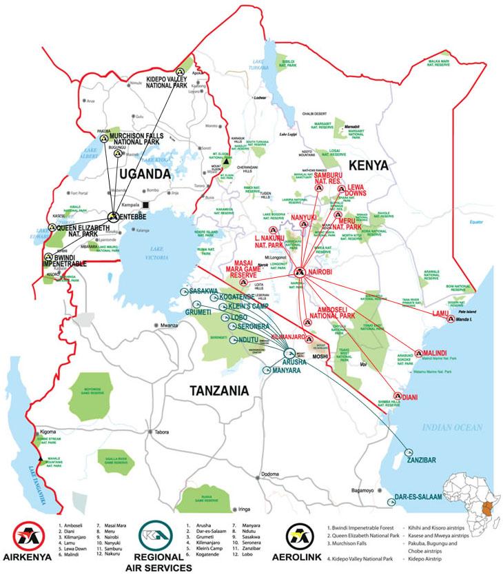 Aerolink Uganda route map
