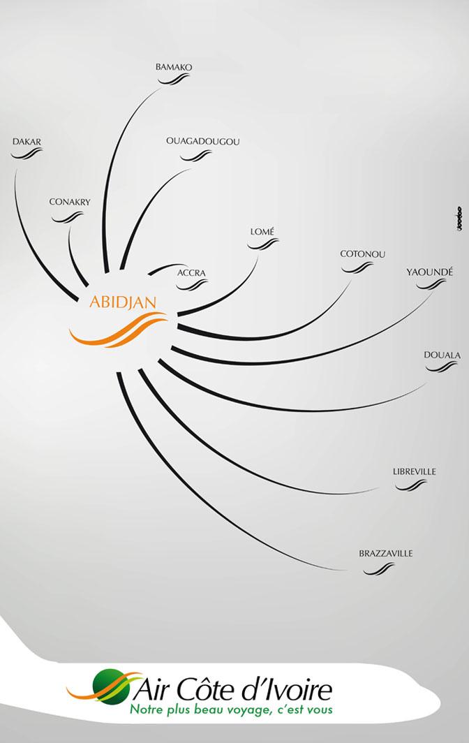 Air Cote d'Ivoire route map