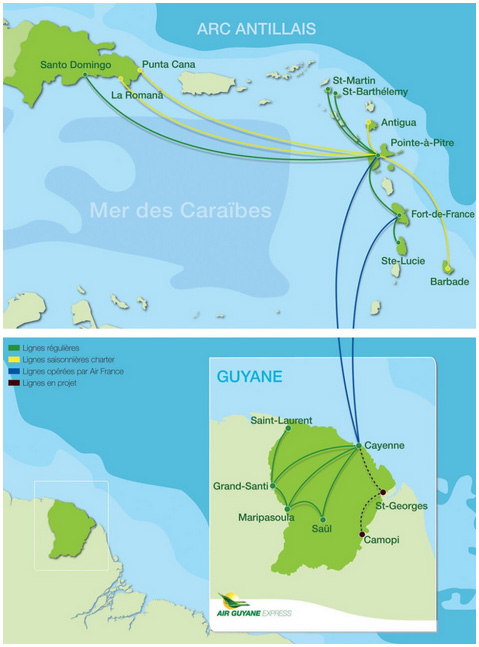 Air Guyane Express route map