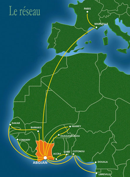 Air Ivoire route map