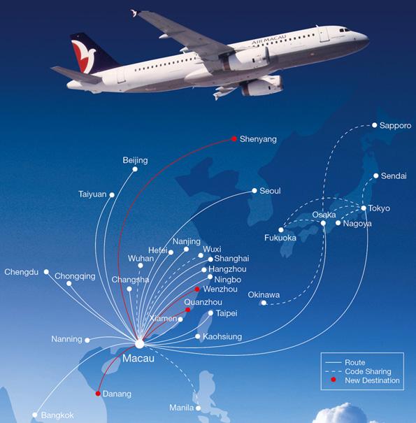 Air Macau route map