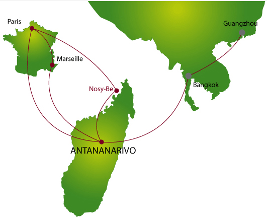 Air Madagascar route map - longhaul routes