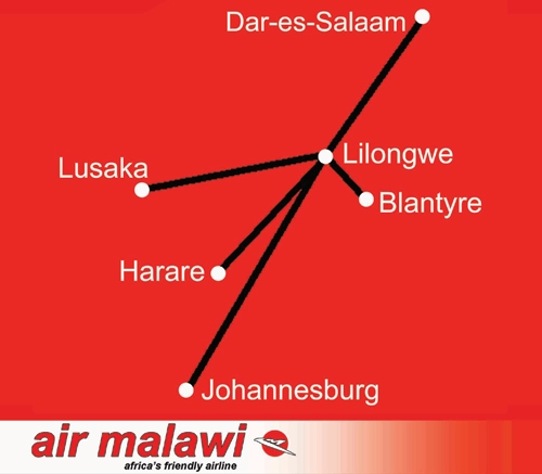 Air Malawi route map