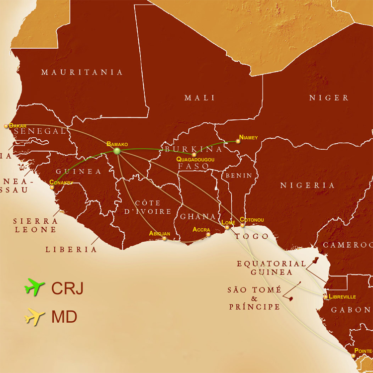Air Mali route map