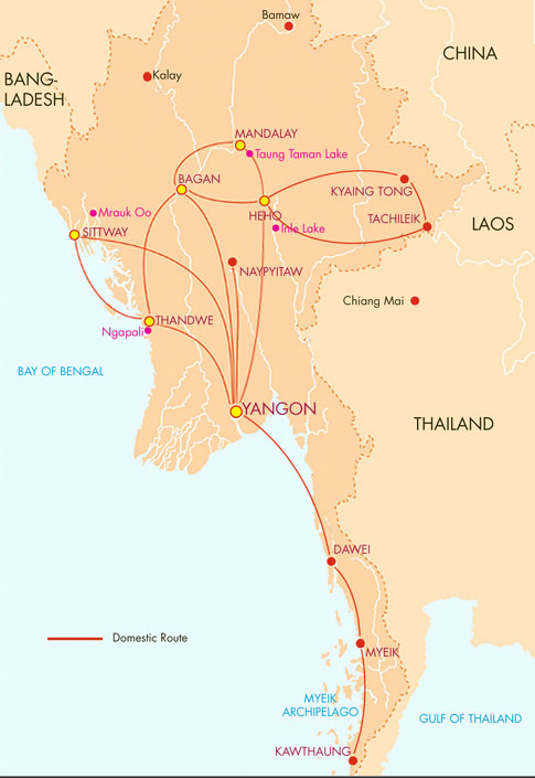 Air Mandalay route map