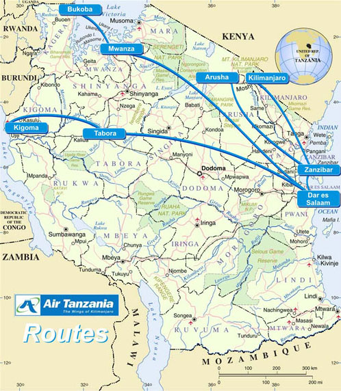 Air Tanzania route map