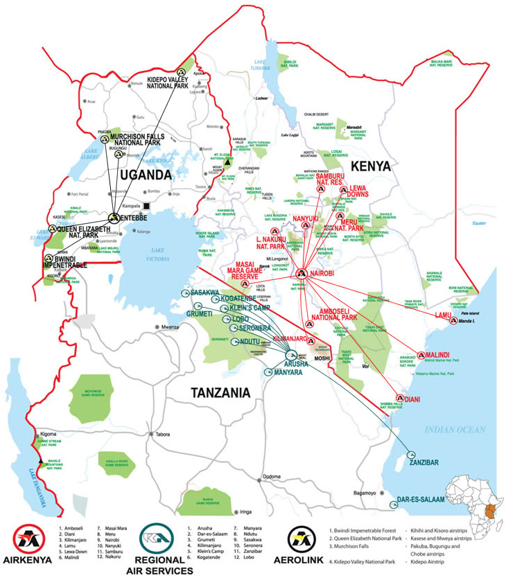 Airkenya Express route map
