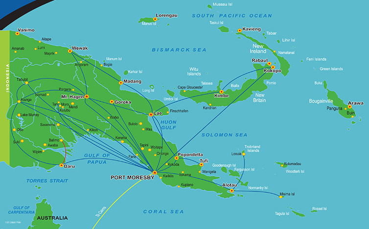 Airlines PNG route map