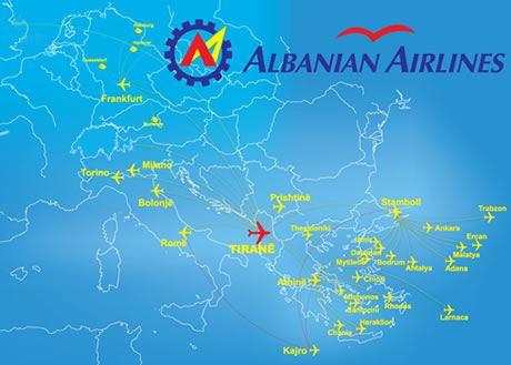Albanian Airlines route map