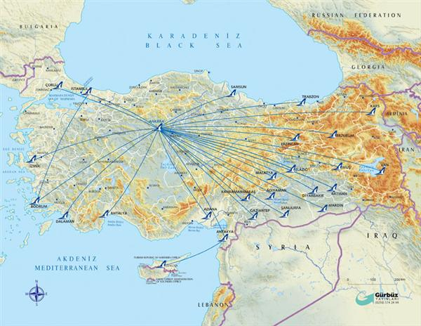AnadoluJet route map