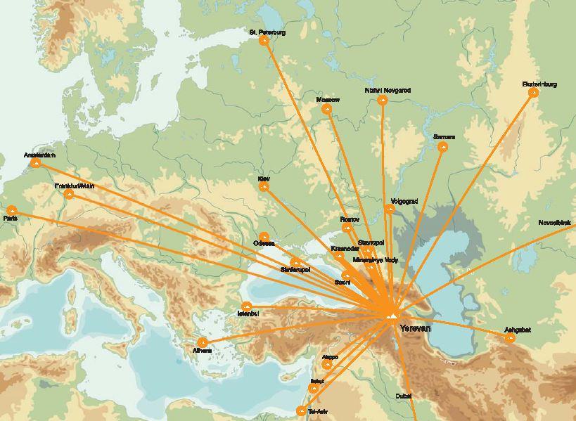 Armavia route map