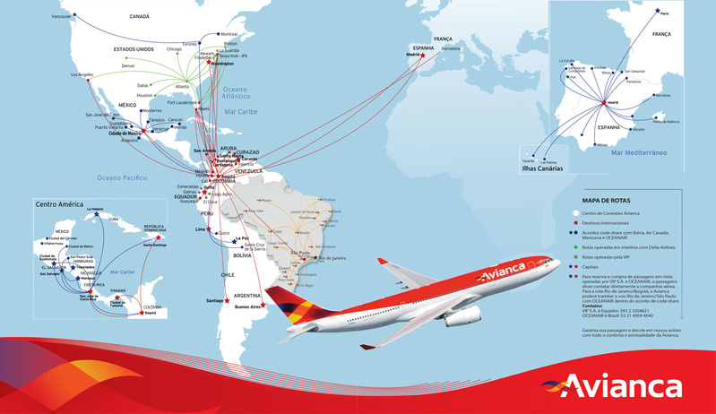 Avianca route map