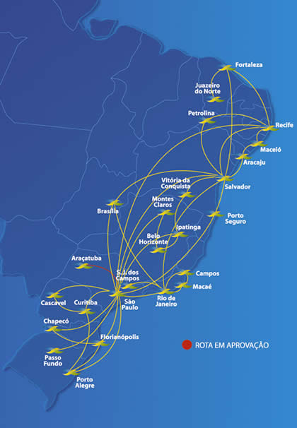 Avianca Brasil route map