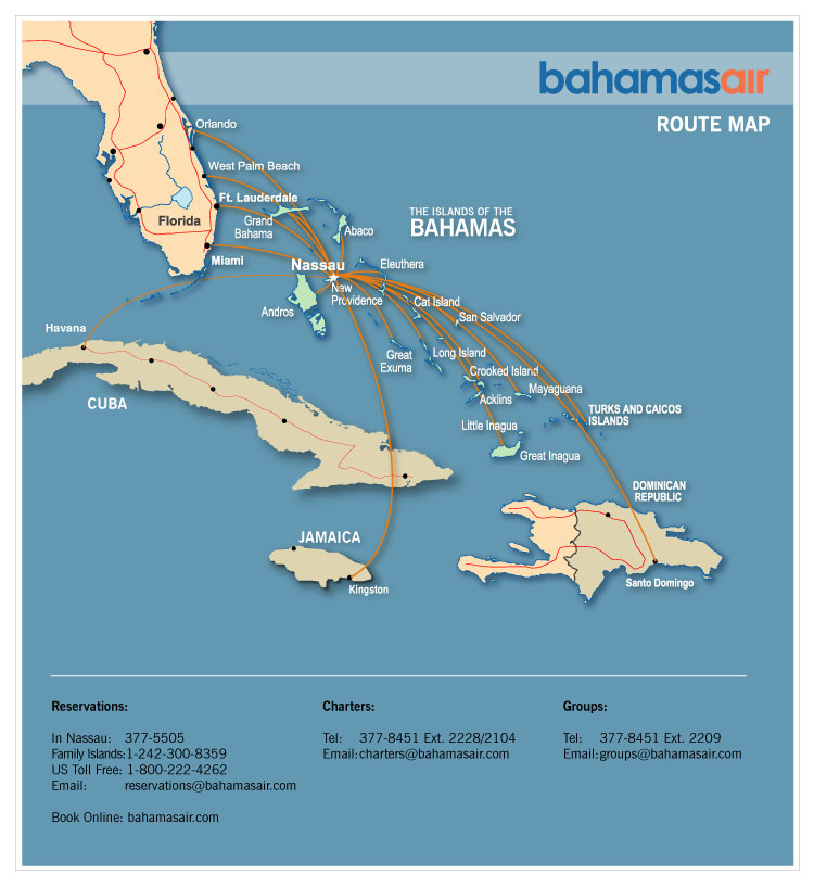 Bahamasair route map