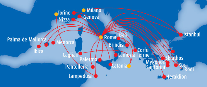 Blue Panorama Airlines route map - Europe