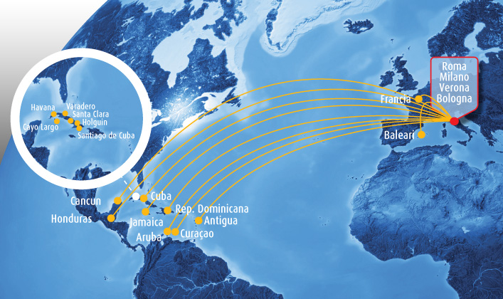 Blue Panorama Airlines route map - the Caribbean