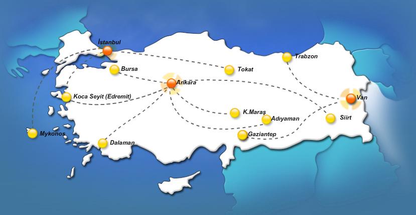 Borajet route map