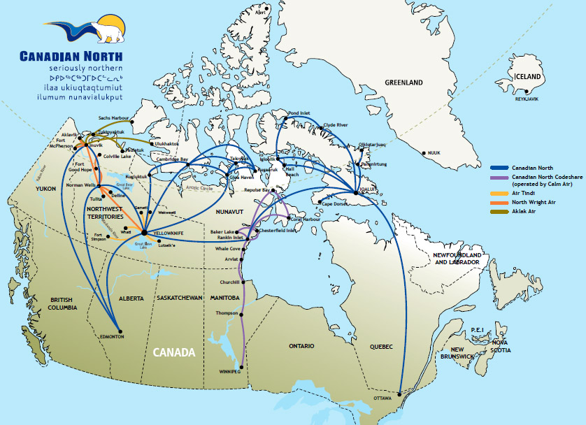 Canadian North route map