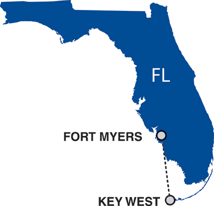 Cape Air route map - Florida Cape Air Route Map on