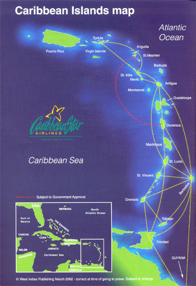 Caribbean Star Airlines route map