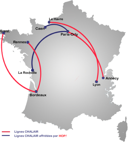 Chalair Aviation route map
