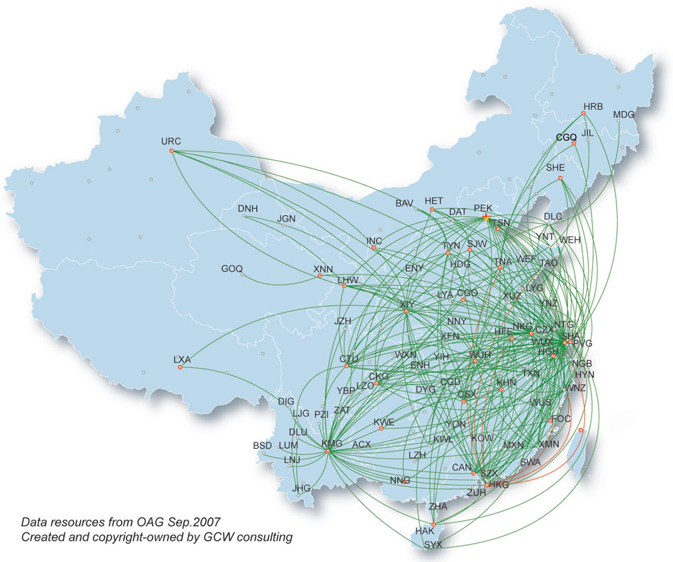 China Eastern Airlines route map - domestic routes