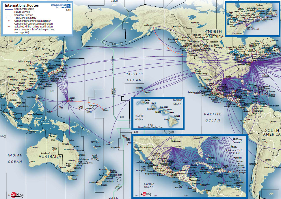 Continental Airlines route map - Asia and the Americas