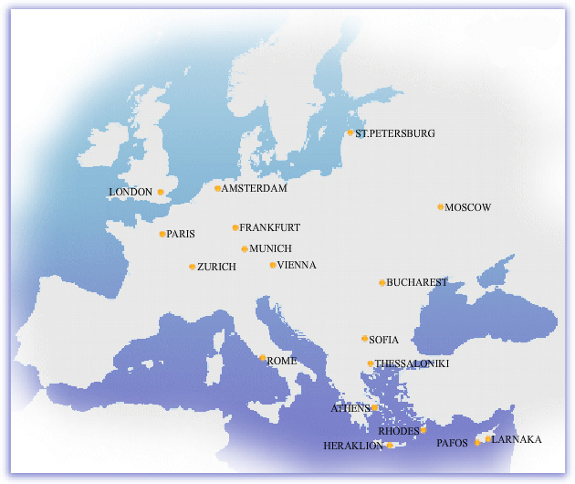 Cyprus Airways route map - Europe