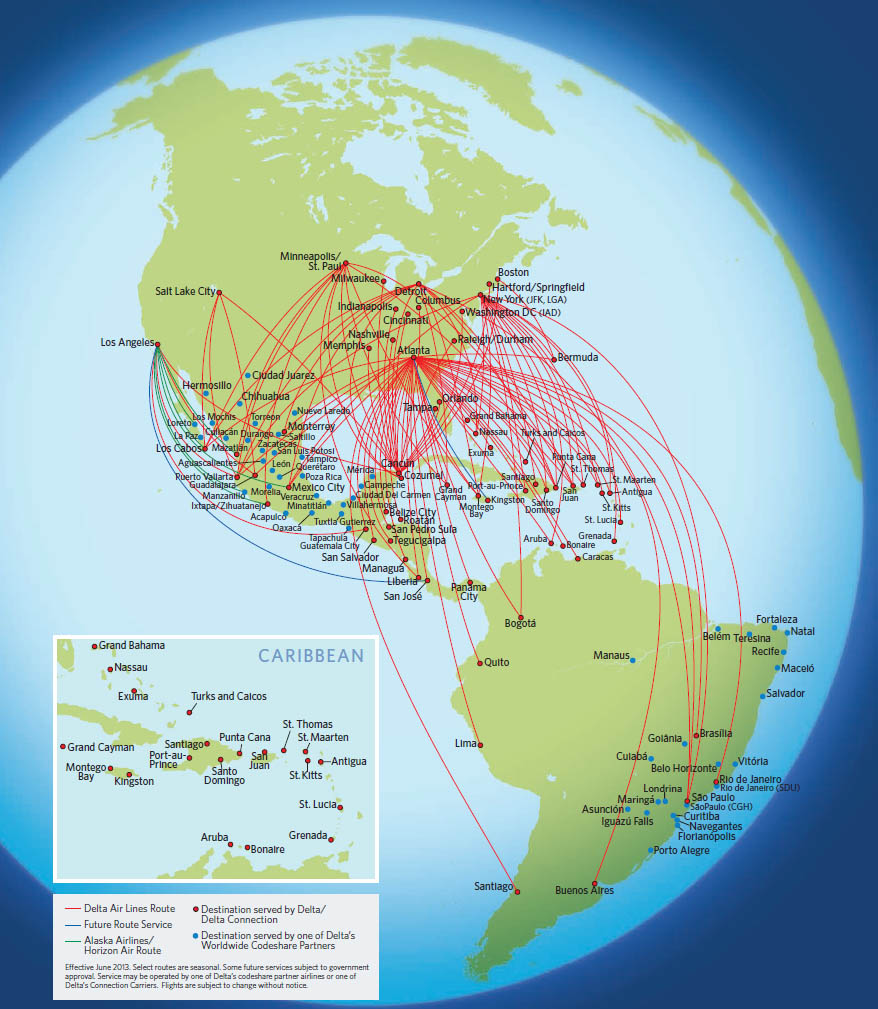 Delta Air Lines route map - Latin America