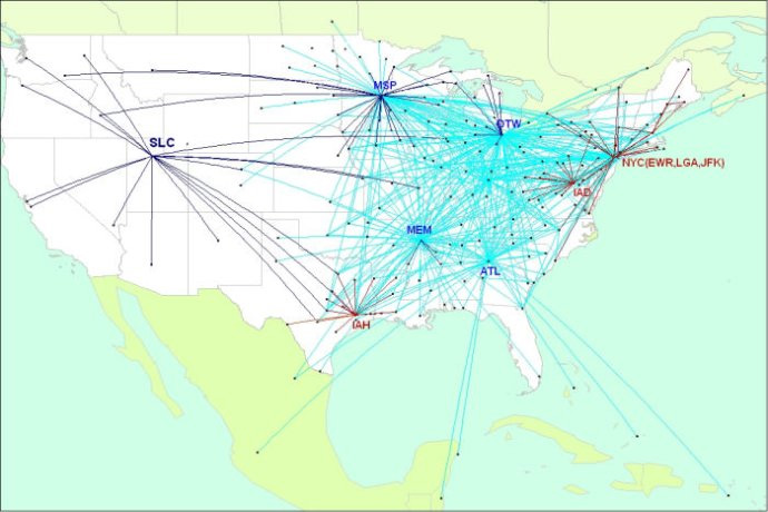 Delta Connection - Pinnacle Airlines route map