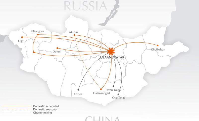 Eznis Airways route map