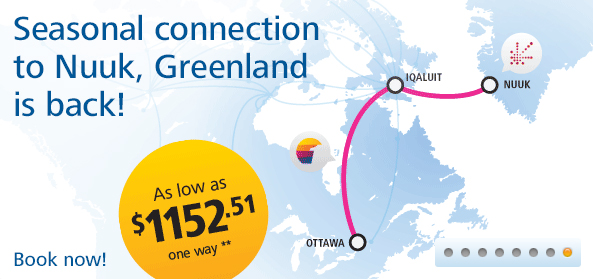First Air route map - seasonal service to Greenland