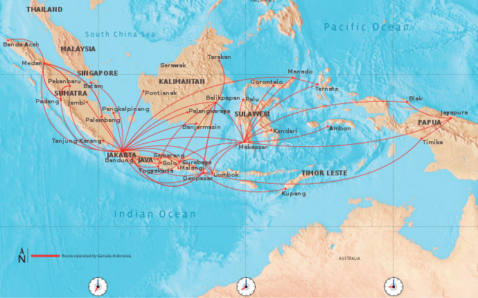 Garuda Indonesia route map - domestic routes