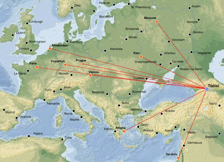 Georgian Airways route map