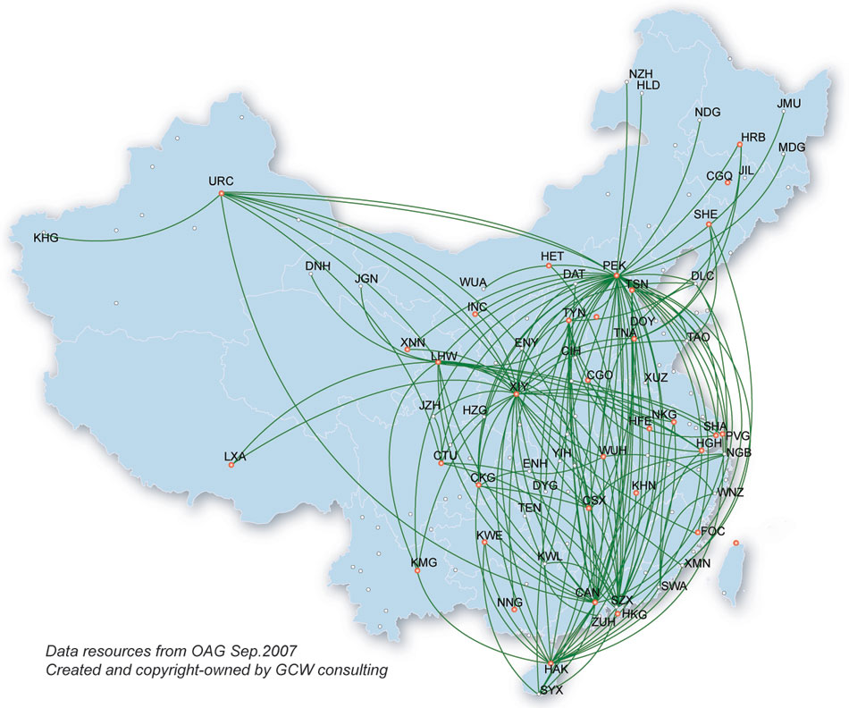 Hainan Airlines route map - domestic routes
