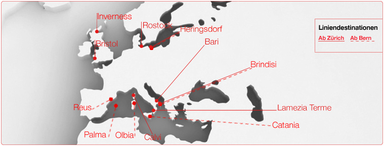 Helvetic Airways route map