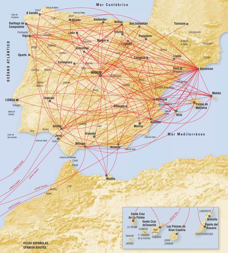 Iberia route map - Europe