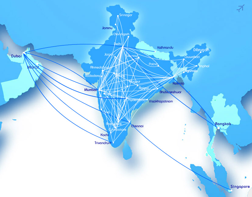IndiGo Airlines route map