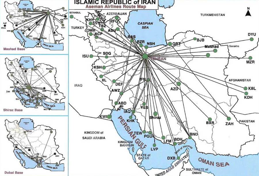 Iran Aseman Airlines route map