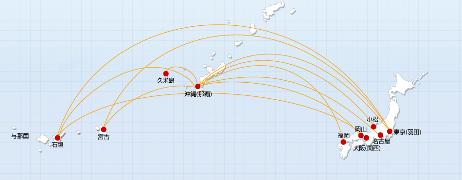 JTA Japan Transocean Air route map