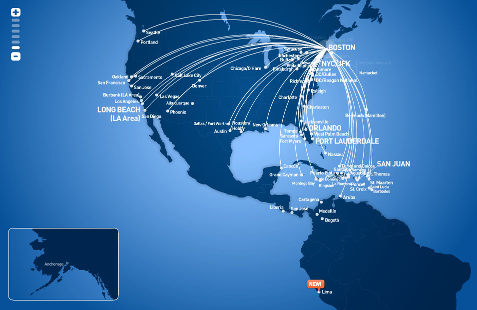 JetBlue Airways route map - from Boston