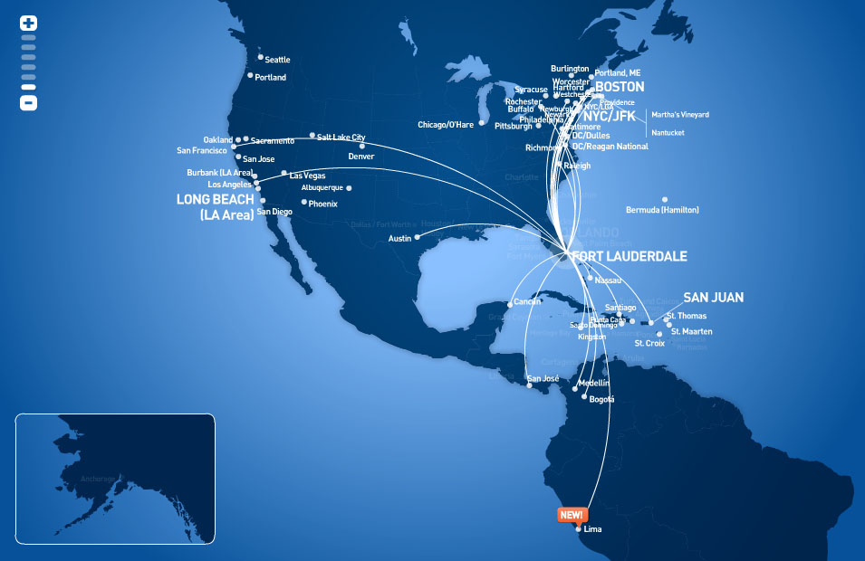 JetBlue Airways route map - from Fort Lauderdale