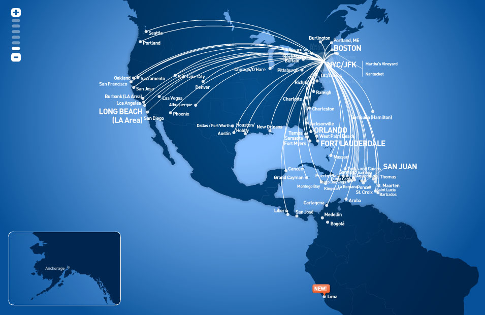 JetBlue Airways route map - from New York JFK