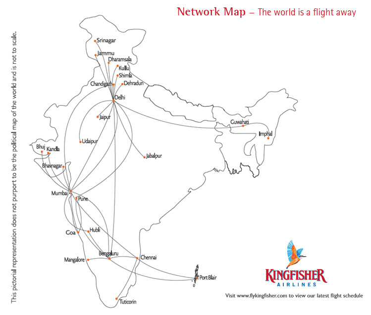Kingfisher Airlines route map