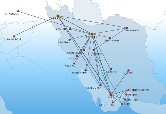 Kish Air route map