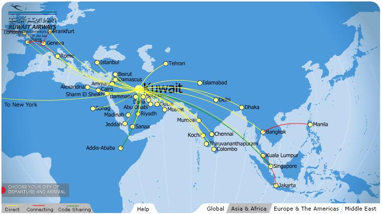 Kuwait Airways route map