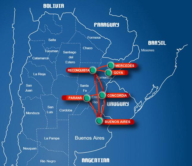 Linea Aerea de Entre Rios route map