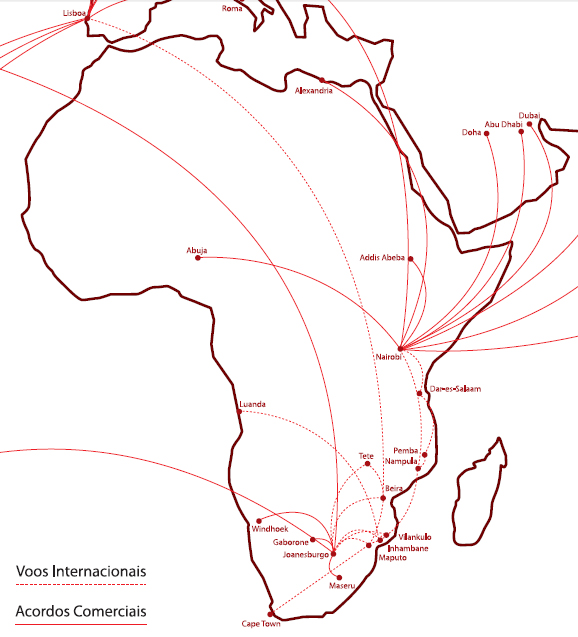 LAM Mozambique Airlines route map - international routes